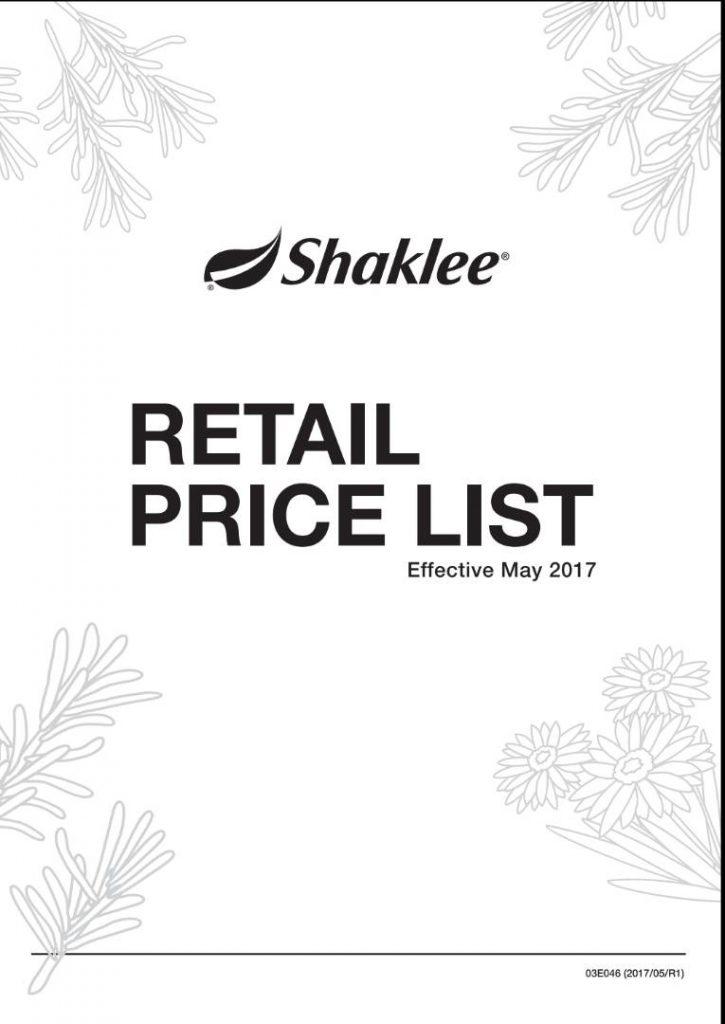 senarai harga produk shaklee
