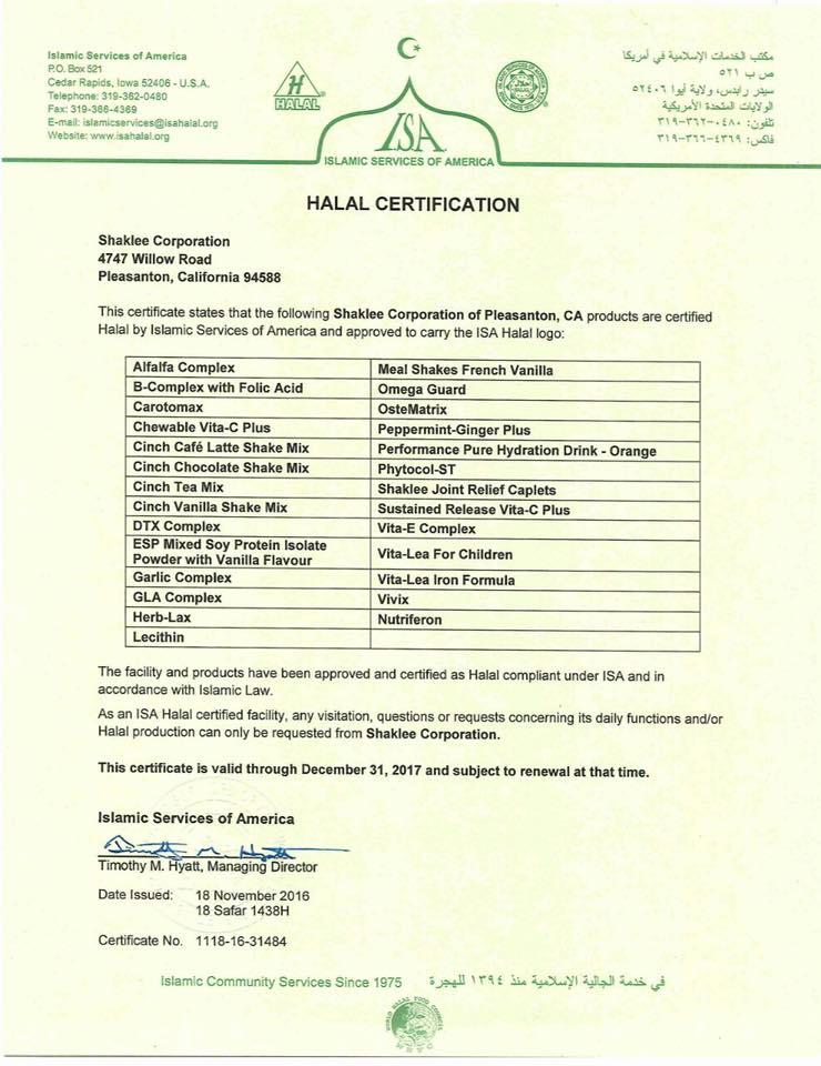 sijil halal shaklee 2017