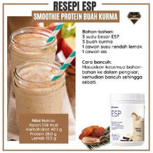 Resipi ESP Smoothie Protein Buah Kurma